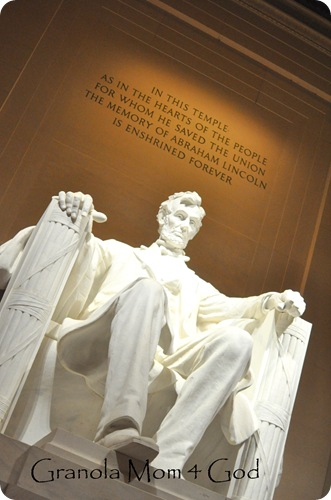 Lincoln at his memorial