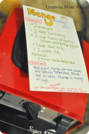 Mango Smoothie Vitamix Recipe Card