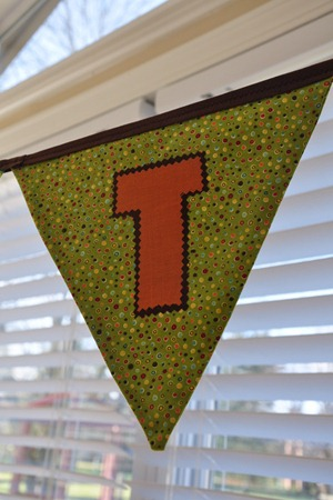 closeup of banner letter T