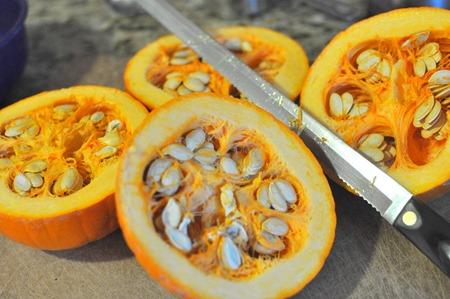 readying pumpkins for Vitamix pumpkin pie