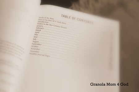 table of contents by month Bible in a year