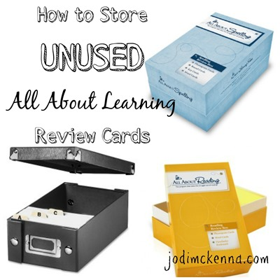 storage for all about learning review cards