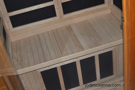 bench of golden designs sauna